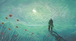 Sunshine in the Rain by Mackenzie Thorpe -  sized 39x22 inches. Available from Whitewall Galleries